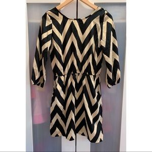 Charlotte Russe Chevron Black & Tan Dress. Small